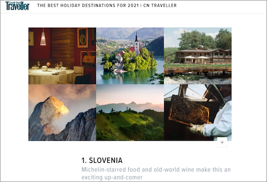 Traveller magazine highlights Slovenia as best destination for 2021